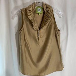 Elizabeth McKay Gold Shirt Ruffled 100% Silk Top